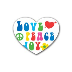 Love Peace And Joy  Rubber Coaster (heart)