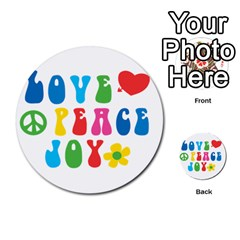Love Peace And Joy  Multi-purpose Cards (Round)