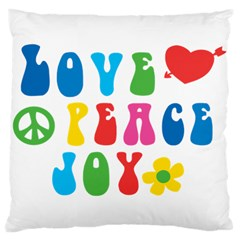 Love Peace And Joy  Large Cushion Case (one Side)