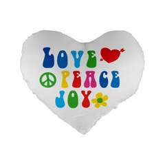 Love Peace And Joy Signs Standard 16  Premium Heart Shape Cushion