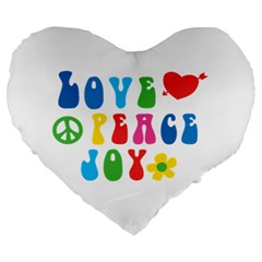 Love Peace And Joy Signs Large 19  Premium Heart Shape Cushion