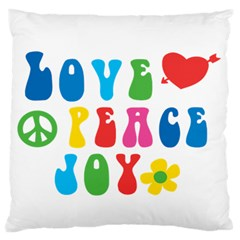 Love Peace And Joy  Large Flano Cushion Case (one Side)