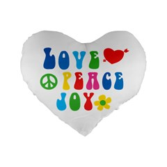 Love Peace And Joy Standard 16  Premium Flano Heart Shape Cushion