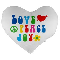 Love Peace And Joy Large 19  Premium Flano Heart Shape Cushion
