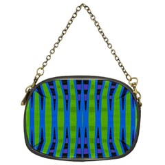 Blue Green Geometric Chain Purses (two Sides)