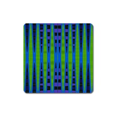 Blue Green Geometric Square Magnet
