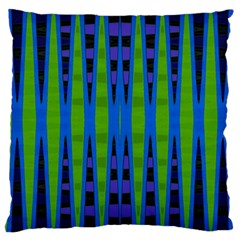 Blue Green Geometric Large Cushion Case (two Sides)