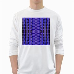Blue Black Geometric Pattern White Long Sleeve T Shirts