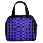 Blue Black Geometric Pattern Classic Handbags (2 Sides) Front