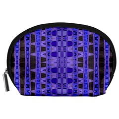 Blue Black Geometric Pattern Accessory Pouches (large)