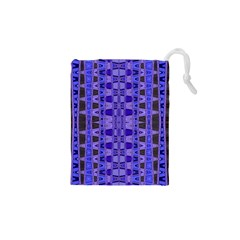 Blue Black Geometric Pattern Drawstring Pouches (xs)