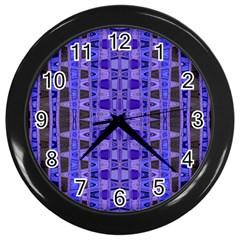 Blue Black Geometric Pattern Wall Clocks (black)