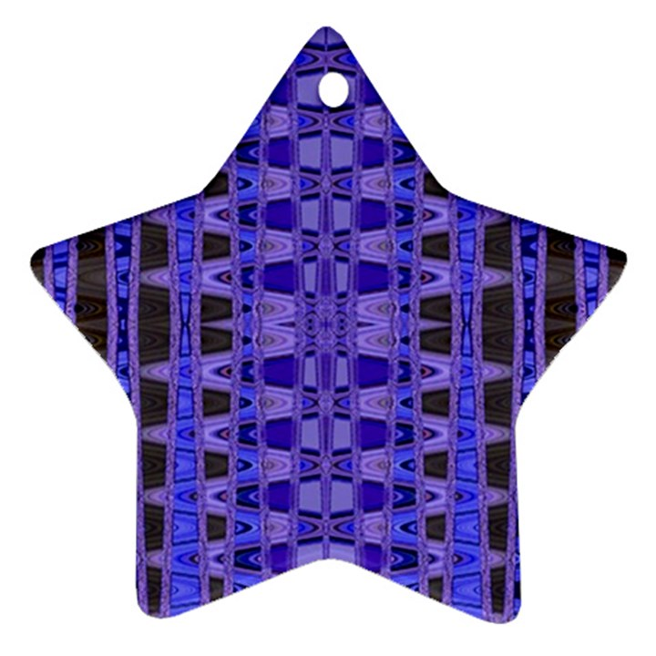 Blue Black Geometric Pattern Star Ornament (Two Sides)