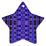 Blue Black Geometric Pattern Star Ornament (Two Sides)  Back