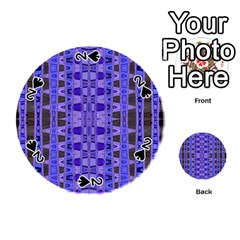 Blue Black Geometric Pattern Playing Cards 54 (round)