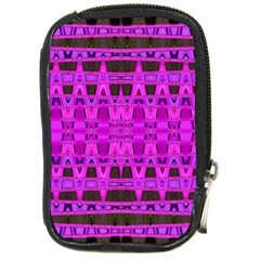 Bright Pink Black Geometric Pattern Compact Camera Cases
