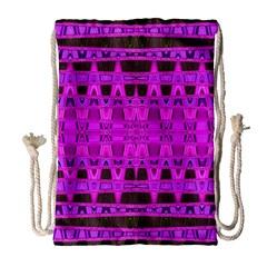 Bright Pink Black Geometric Pattern Drawstring Bag (large)