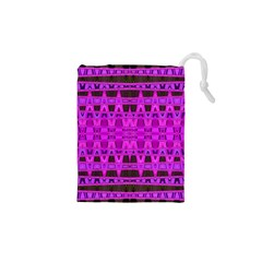 Bright Pink Black Geometric Pattern Drawstring Pouches (XS)