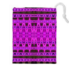 Bright Pink Black Geometric Pattern Drawstring Pouches (xxl)