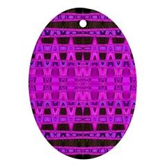 Bright Pink Black Geometric Pattern Ornament (oval)