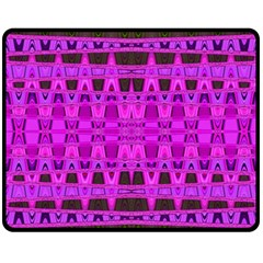 Bright Pink Black Geometric Pattern Fleece Blanket (medium)