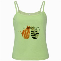 two lover cats Green Spaghetti Tank
