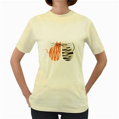 Two Lovely Cats   Women s Yellow T Shirt