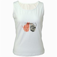 Two Lovely Cats   Women s White Tank Top