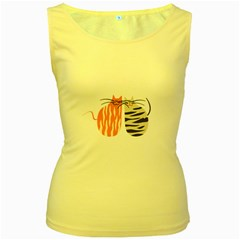Two Lovely Cats   Women s Yellow Tank Top