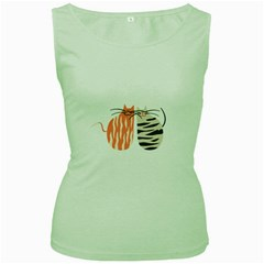 Two Lovely Cats   Women s Green Tank Top