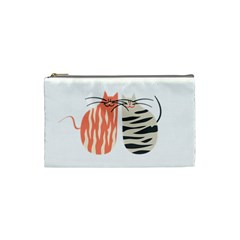 Two Lovely Cats   Cosmetic Bag (Small)