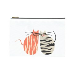 Two Lovely Cats   Cosmetic Bag (Large)