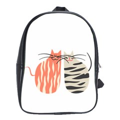 Two Lovely Cats   School Bags(Large)