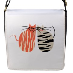 Two Lovely Cats   Flap Messenger Bag (S)