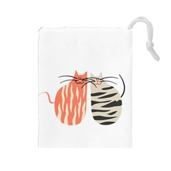 Two Lovely Cats   Drawstring Pouches (Large)