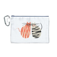 Two Lovely Cats   Canvas Cosmetic Bag (M)