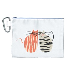 Two Lovely Cats   Canvas Cosmetic Bag (L)
