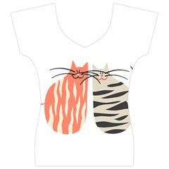 Two Lovely Cats   Women s V-Neck Cap Sleeve Top
