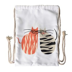Two Lovely Cats   Drawstring Bag (large)