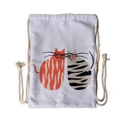 Two Lovely Cats   Drawstring Bag (Small)