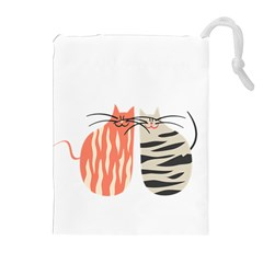 Two Lovely Cats   Drawstring Pouches (extra Large)