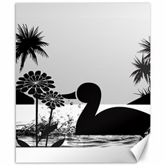 Duck Sihouette Romance Black & White Canvas 8  X 10