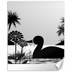 Duck Sihouette Romance Black & White Canvas 16  x 20