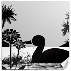Duck Sihouette Romance Black & White Canvas 20  X 20