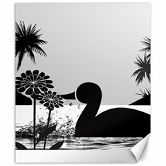 Duck Sihouette Romance Black & White Canvas 20  X 24