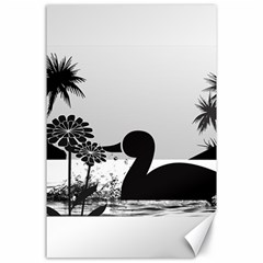 Duck Sihouette Romance Black & White Canvas 24  x 36
