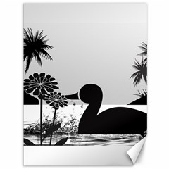 Duck Sihouette Romance Black & White Canvas 36  x 48