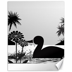 Duck Sihouette Romance Black & White Canvas 11  X 14