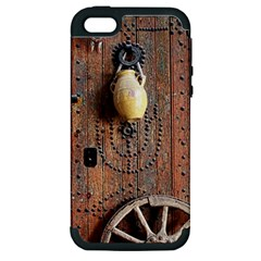 Oriental Wooden Rustic Door  Apple iPhone 5 Hardshell Case (PC+Silicone)