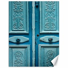 Turquoise Oriental Old Door Canvas 18  X 24